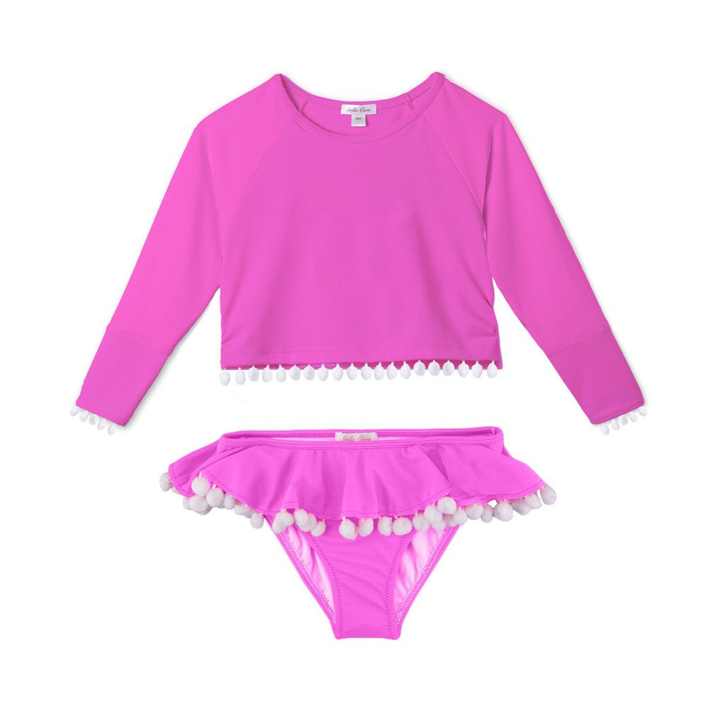 PINK POM POM RASH-GUARD BATHING SUIT