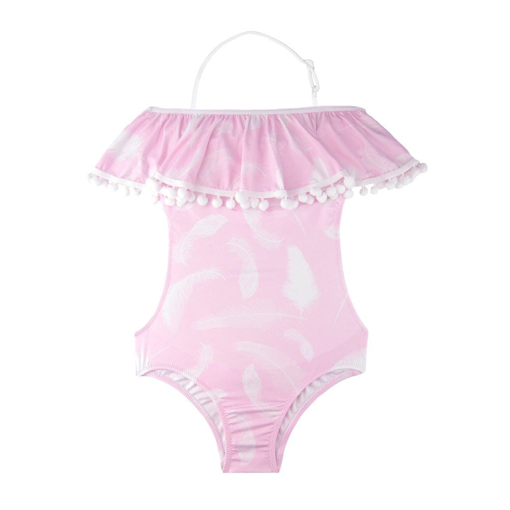 PINK FEATHER POM POM/RUFFLE SWIM SUIT