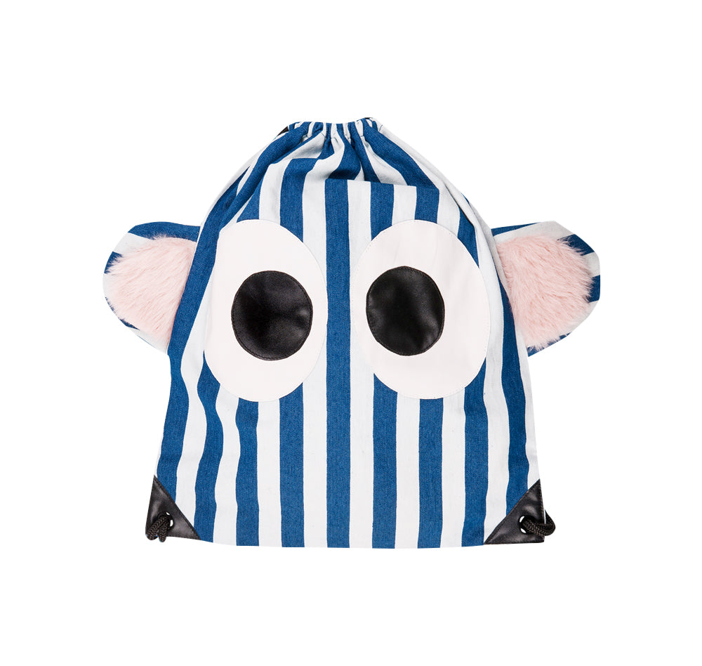 Blue and White Stripe Eyes Backpack