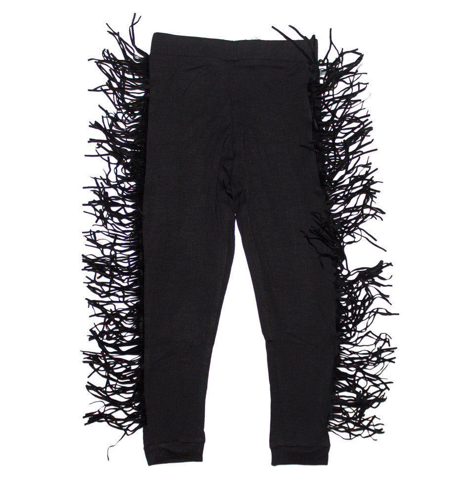 Black Wayne Jersey Leggings with Fringing