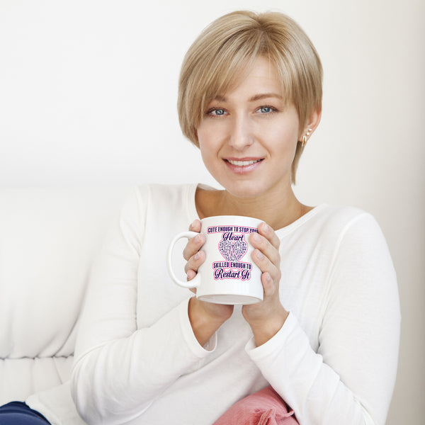 Cute Enough to Stop Your Heart Pink & Purple Mug