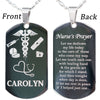 Personalized Stainless Steel Nurse Prayer Necklace or Key Chain with FREE Engraving