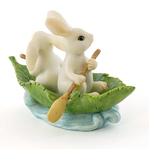 Bunnies Rowing Leaf Boat