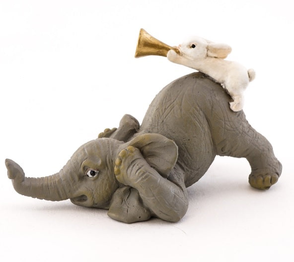 Elephant & Bunny Playing Horn