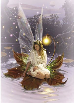 Fairy on Lily Pad Card -- DragonSpace