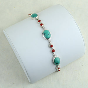 Turquoise & Coral Bracelet