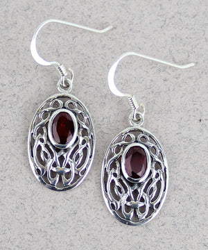 Celtic Earrings with Garnet