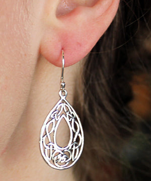 Celtic Oval Hoop Earrings -- DragonSpace