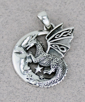 Dragon on Moon Pendant
