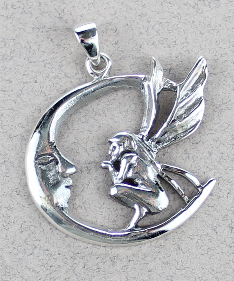 Fairy on Moon Pendant