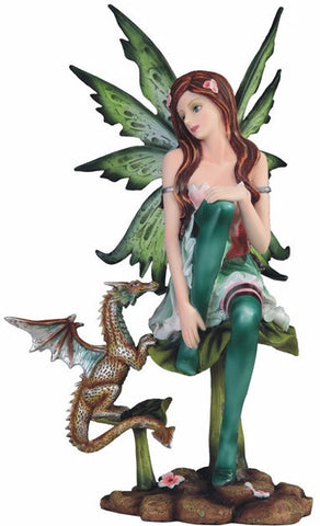 Green Fairy with Baby Dragon