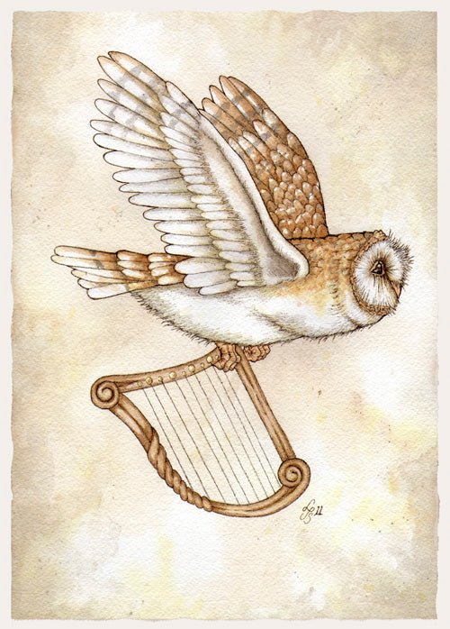 Owl with Harp Card