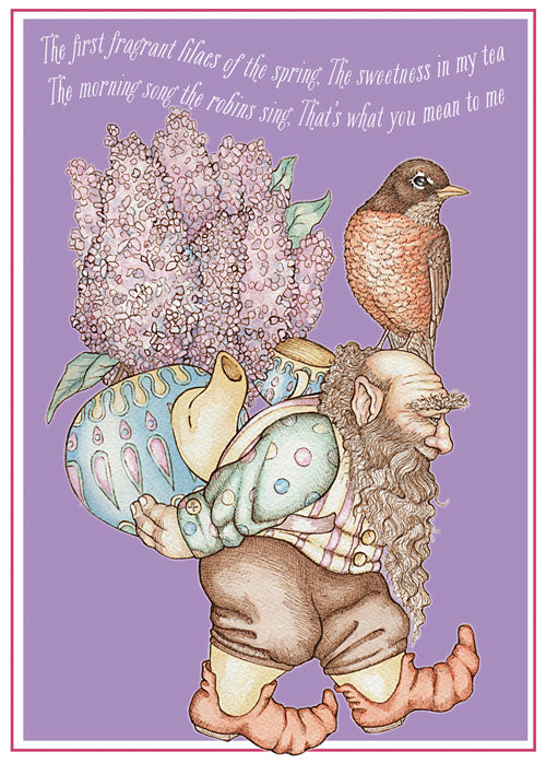Gnome with Lilacs & Robin Card