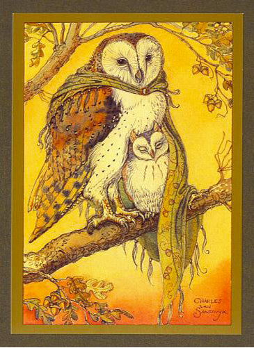 Owls in Oak Card