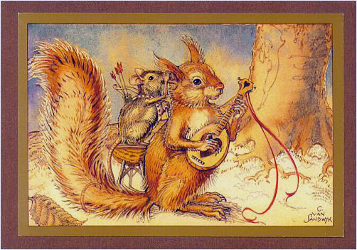 Squirrel with Cupid Card -- DragonSpace