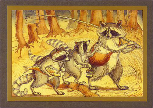 Raccoons Fishing Card