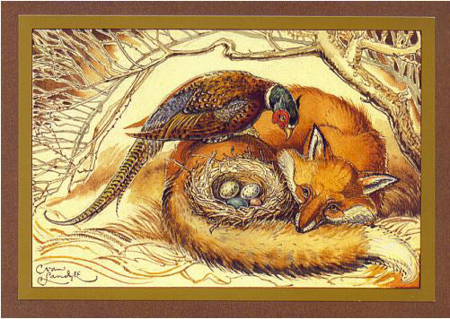 Fox & Pheasant Card -- DragonSpace