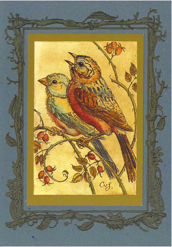 Birds with Rosehips Card -- DragonSpace