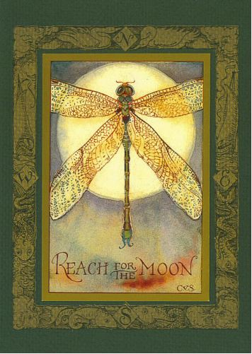 "Dragonfly ""Reach for the Moon"" Card -- DragonSpace"