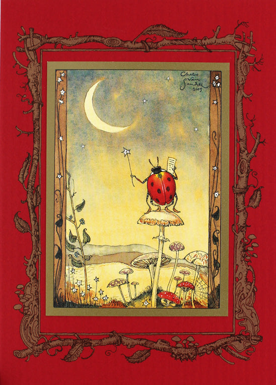 Ladybug on Moon Card
