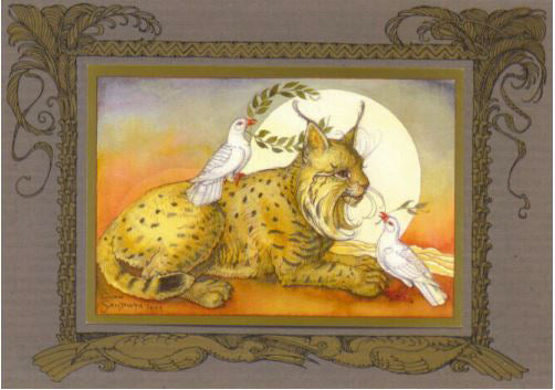 Lynx with Doves Card