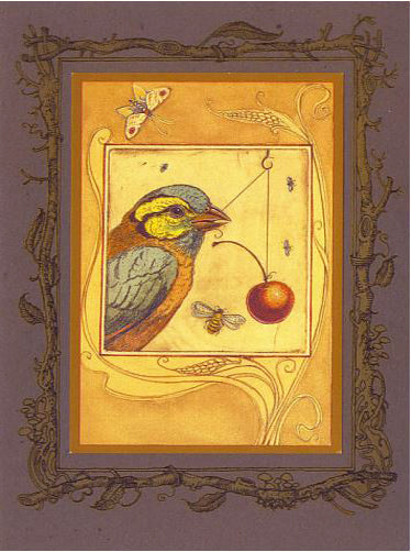 Finch with Cherry Card -- DragonSpace