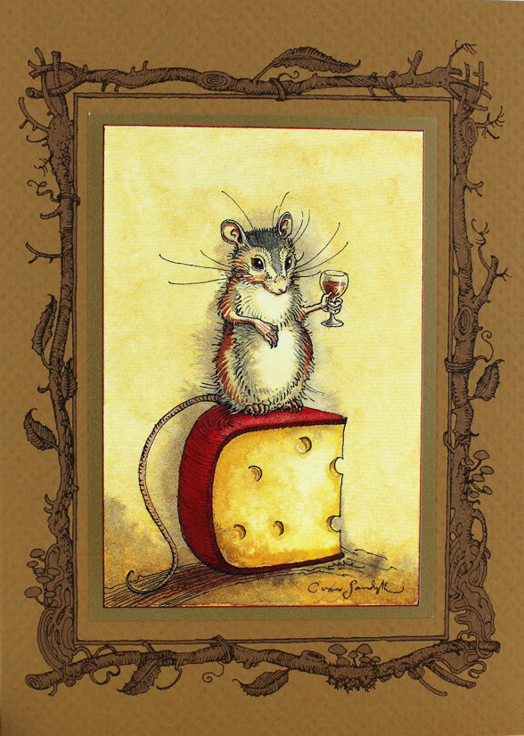Mouse Cheese Wine Card