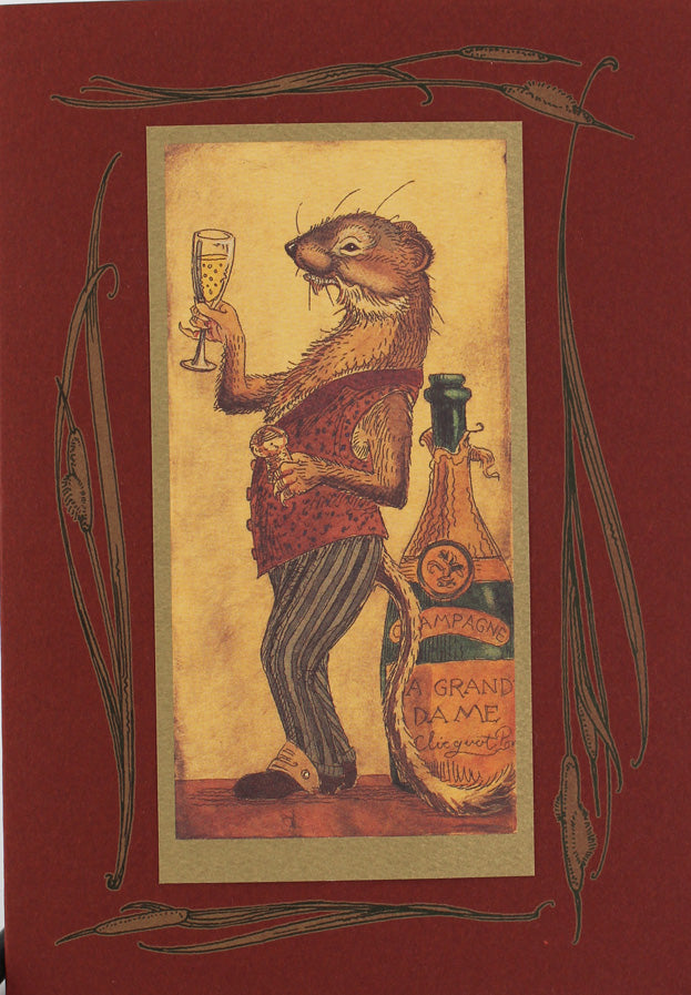Weasel with Champagne Card