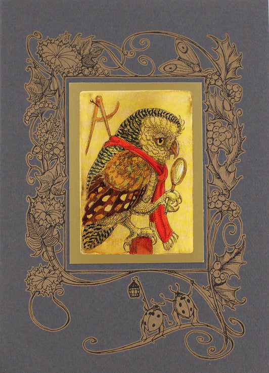 Owl with Red Scarf Card