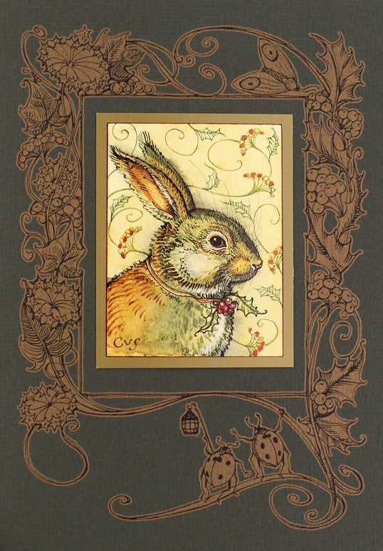 Rabbit with Holly Card