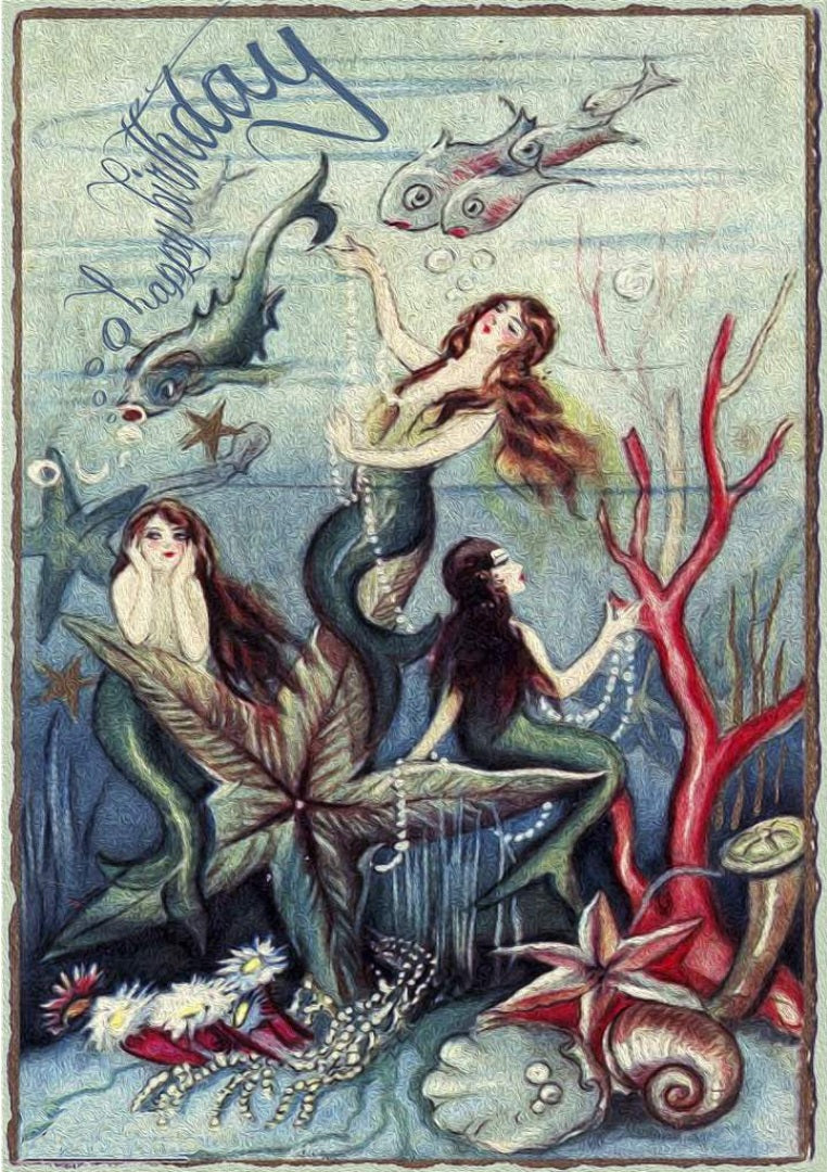 We Three Mermaids Birthday Card