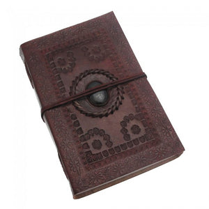 X-Large Embossed Leather Journal with Gemstone