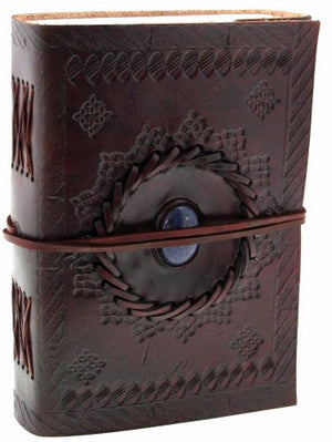 Medium Embossed Leather Journal with Gemstone