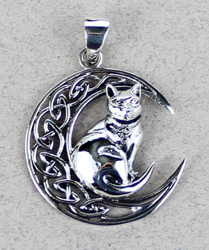 Cat on Moon Pendant