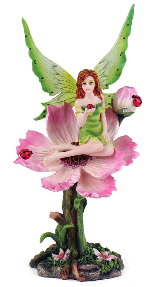 Pink Flower Fairy with Ladybugs