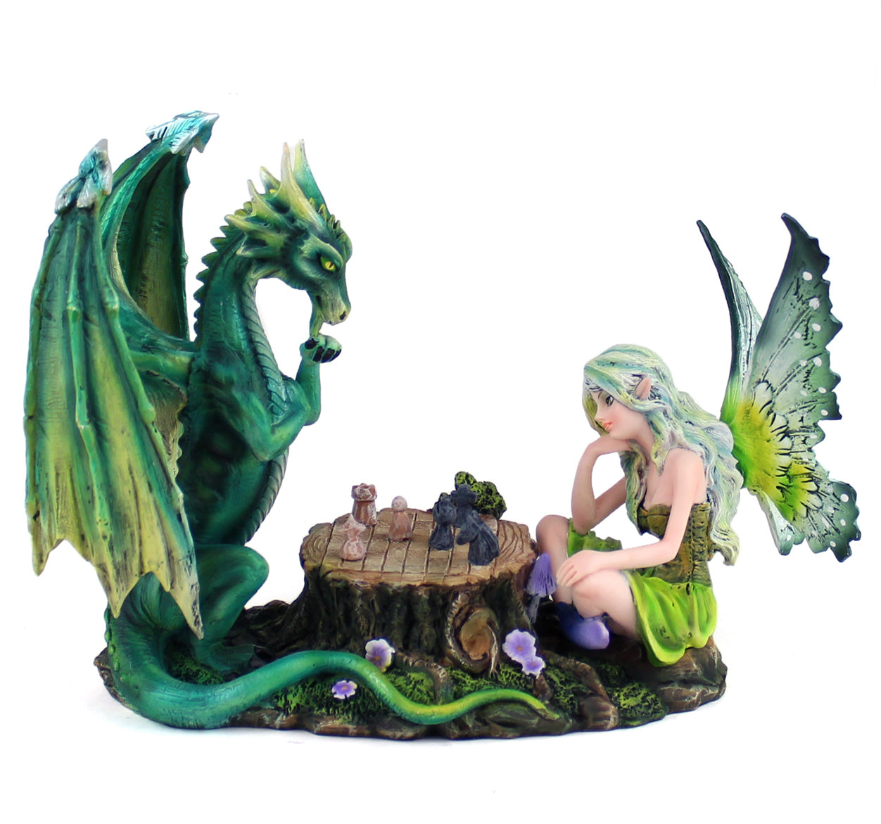 Fairy & Dragon Playing Chess