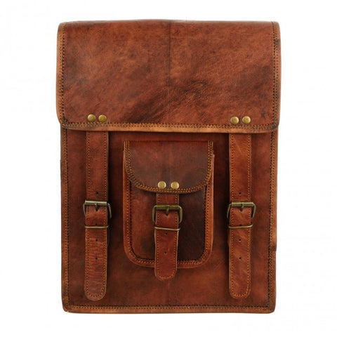 Large Brown Leather Satchel Style Backpack