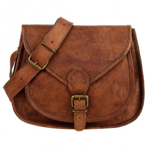 Curved Brown Leather Saddlebag