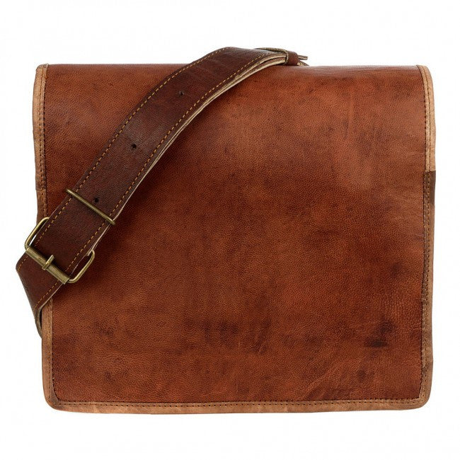 Medium Brown Leather Courier Bag