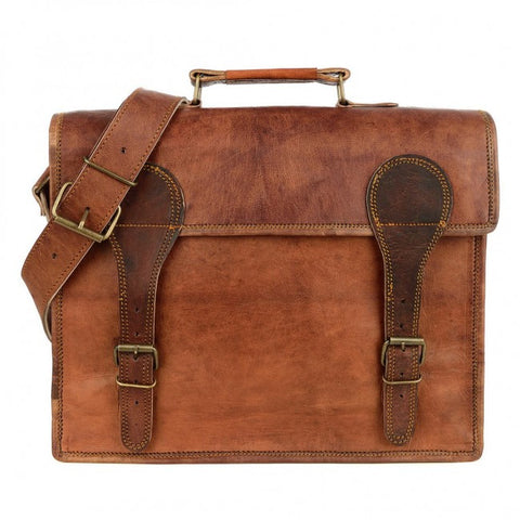 Large Old School Brown Leather Satchel