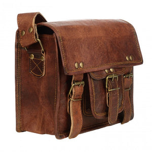 Small Brown Leather Satchel -- DragonSpace