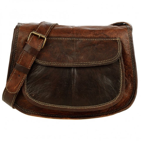 Dark Brown Leather Saddle Handbag