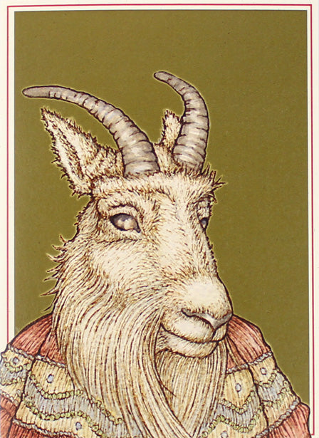 Winter Goat Moderne Card