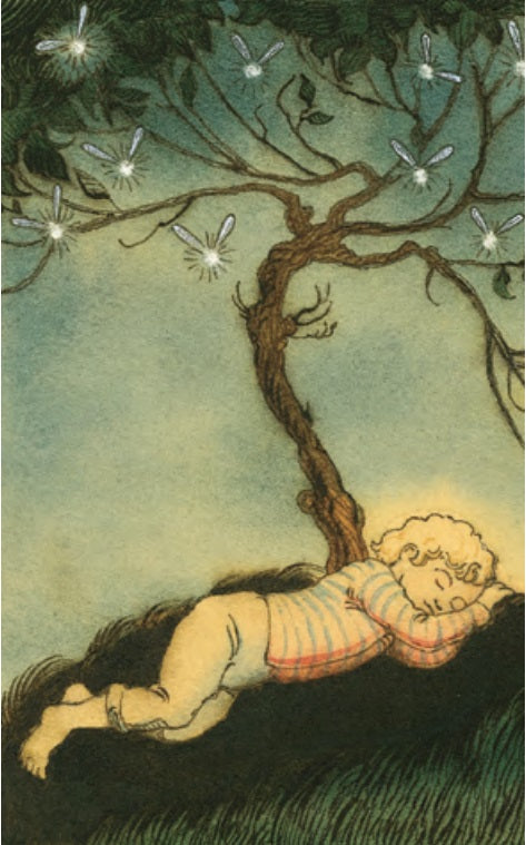 Boy with Fireflies Notecard
