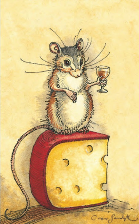 Mouse Cheese Wine Notecard