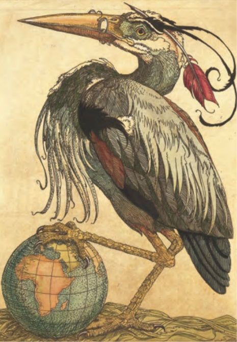 Heron with Globe Notecard