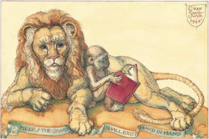 Lion and Monkey Notecard