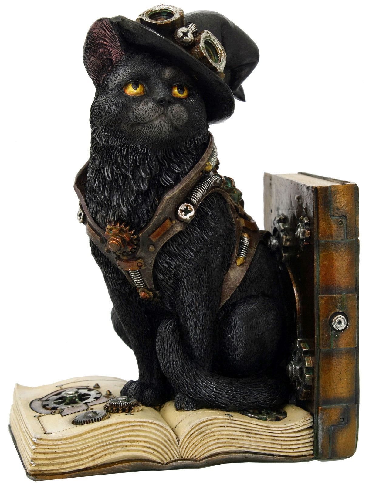 Steampunk Bookend - Cat (Left)