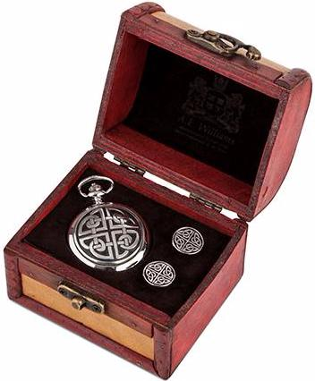 Pocket Watch & Cufflinks Trunk Set (Square Knot)