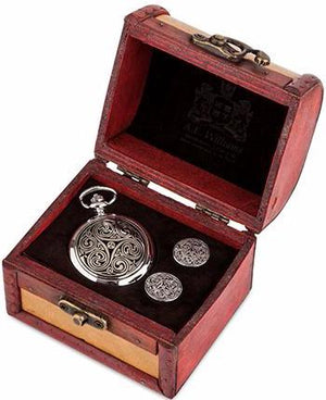 Pocket Watch & Cufflinks Trunk Set (Triple Swirl)
